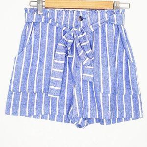 ONETHELAND   Stripe Belt Tie Waist Cotton Shorts